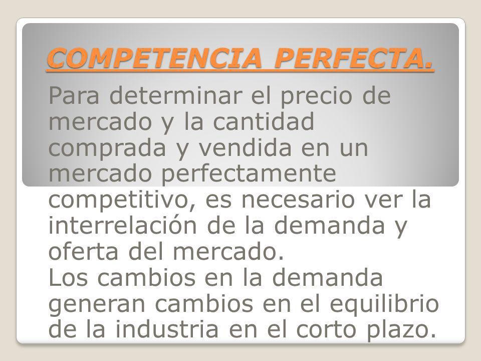 COMPETENCIA PERFECTA. Para determinar el precio de mercado y la cantidad comprada y vendida en un mercado perfectamente competitivo, es necesario ver