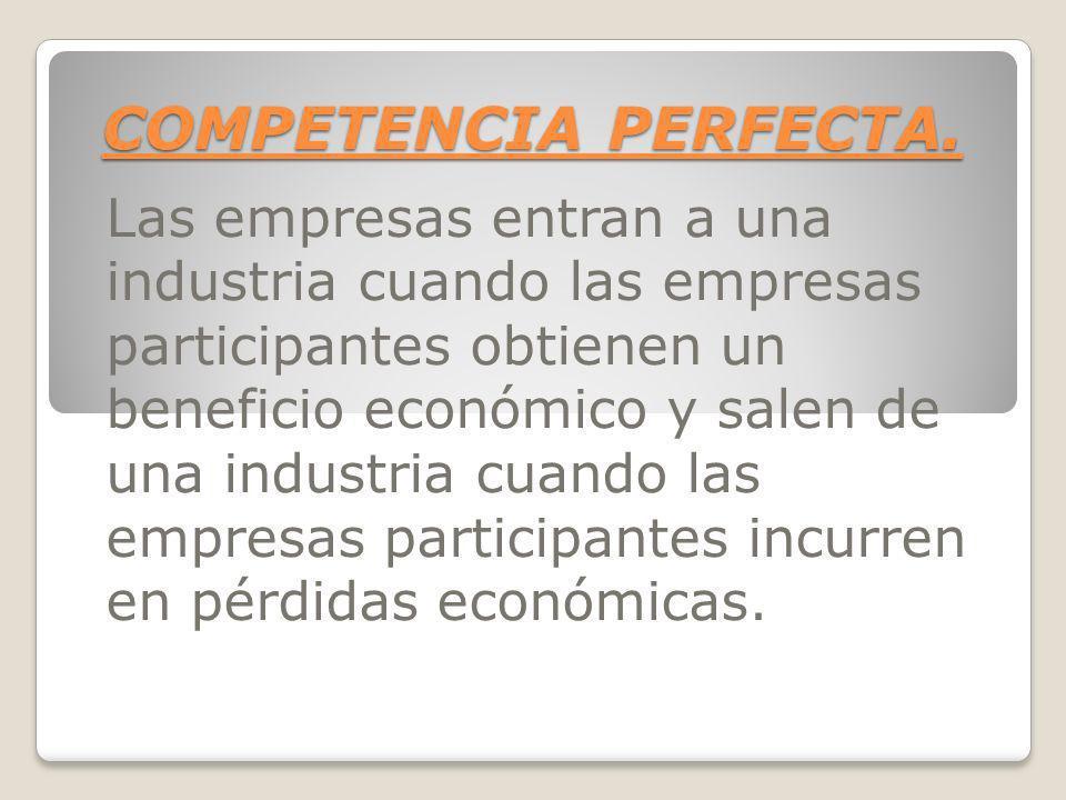COMPETENCIA PERFECTA. Las empresas entran a una industria cuando las empresas participantes obtienen un beneficio económico y salen de una industria c