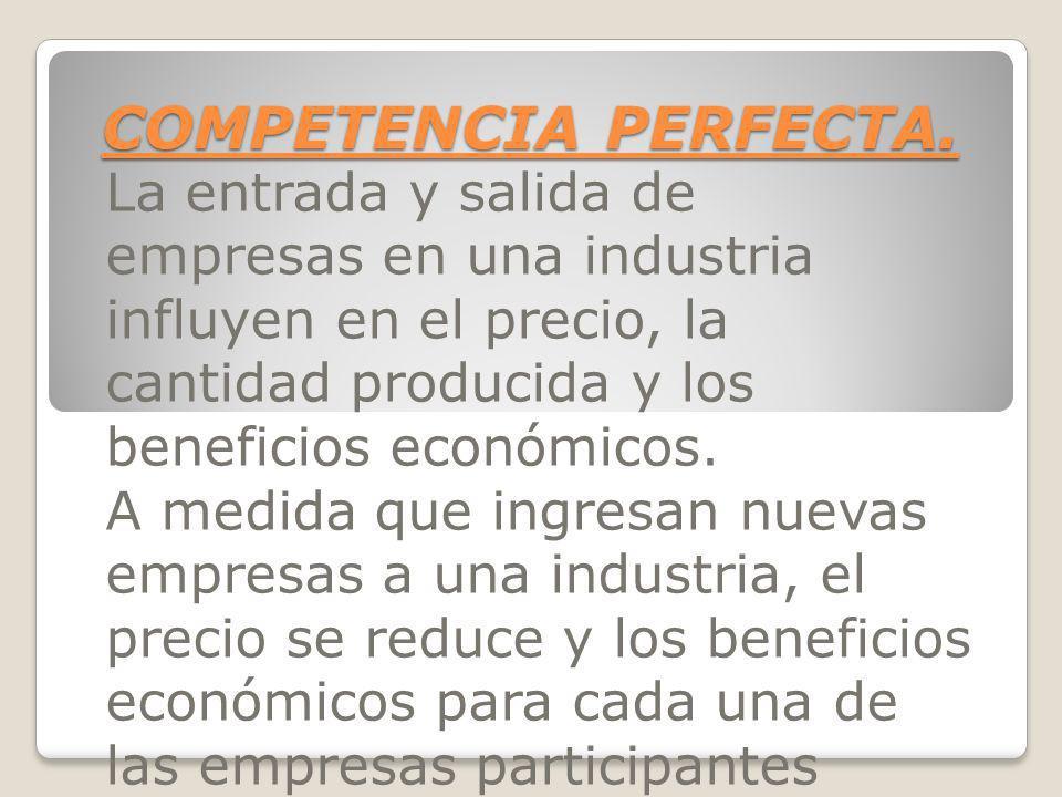 COMPETENCIA PERFECTA. La entrada y salida de empresas en una industria influyen en el precio, la cantidad producida y los beneficios económicos. A med