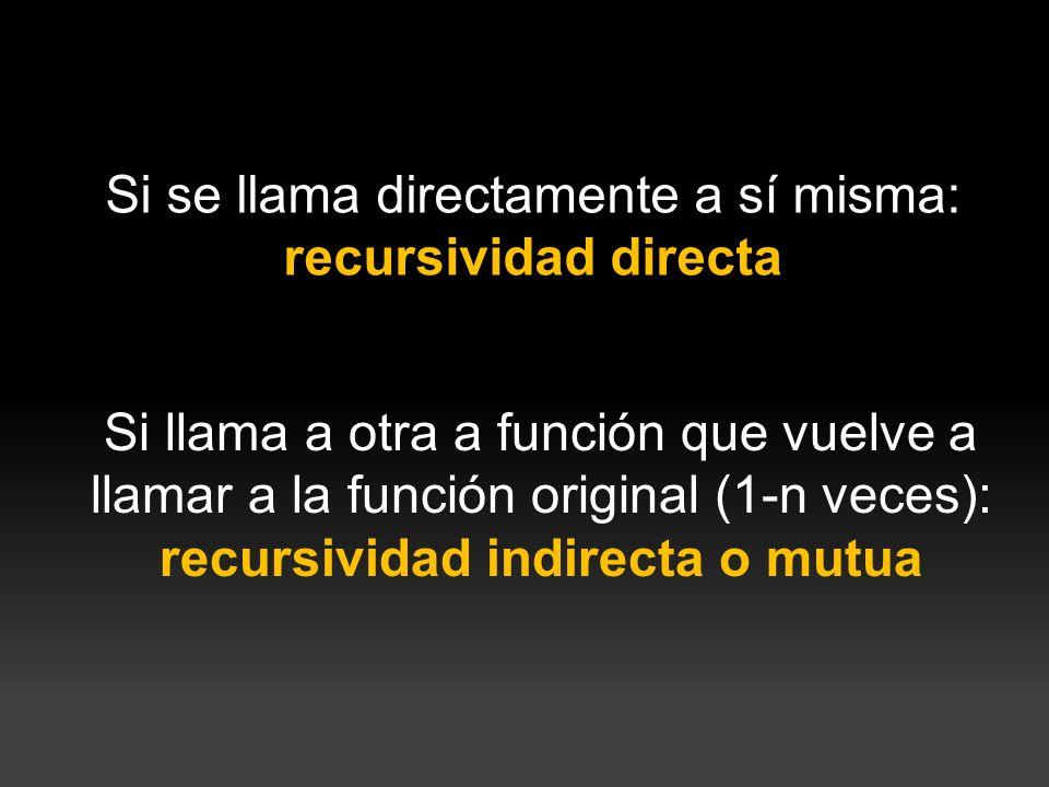 Recursividad directa public static int funcionRec(int n){ if (n == 0){ return 1; } else{ return n * funcionRec(n-1); } Se llama a sí misma directamente