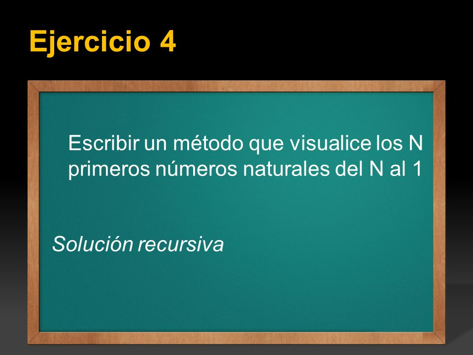 Ejercicio 4 Ejercicio: Escribir un programa que calcule todos los factoriales del 1 hasta el valor entero N que se introduce por teclado, el valor de