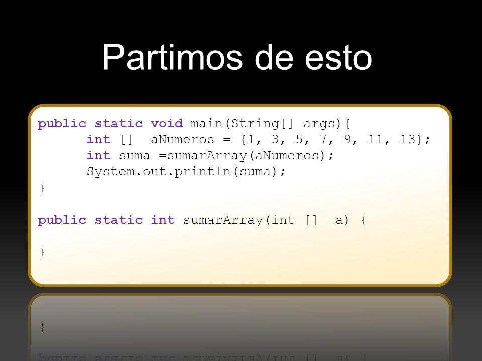 A veces se llama un método que llama a un método recursivo para añadir parámetros necesarios de la solución recursiva