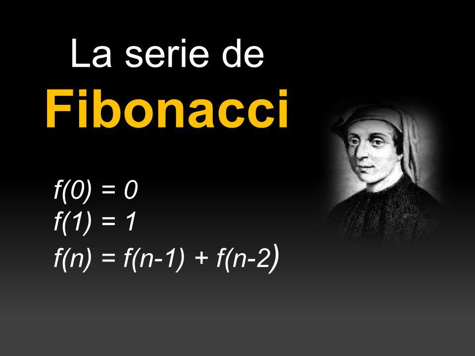 La serie de Fibonacci f(0) = 0 f(1) = 1 f(n) = f(n-1) + f(n-2 )