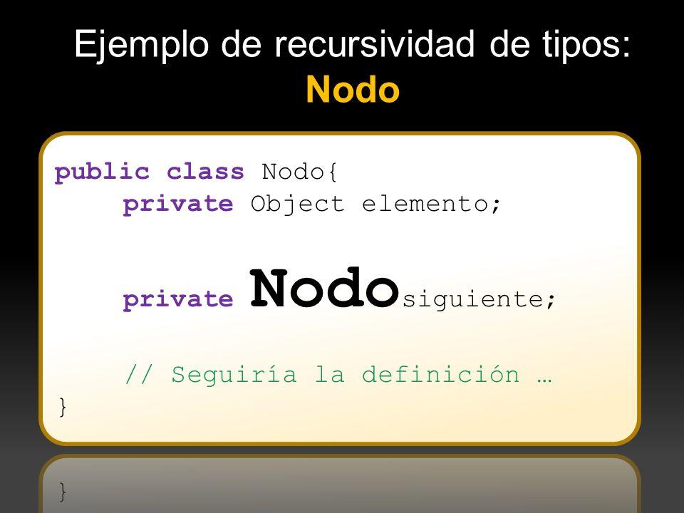 Ejemplo de recursividad de tipos: Nodo