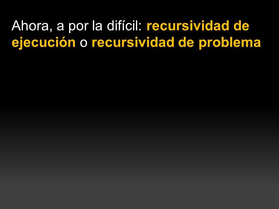 La recursividad de ejecución es la posibilidad de definir un problema en función del propio problema