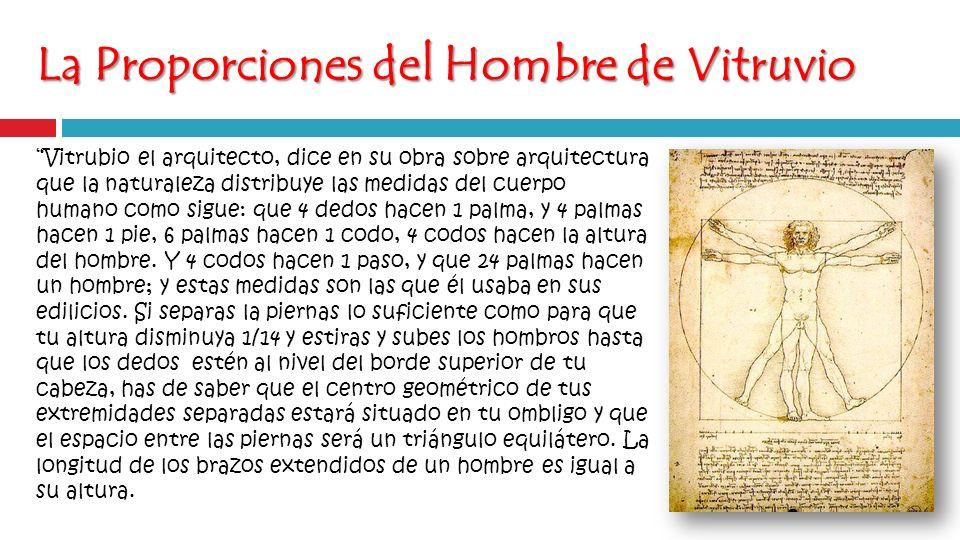 La Proporciones del Hombre de Vitruvio Vitrubio el arquitecto, dice en su obra sobre arquitectura que la naturaleza distribuye las medidas del cuerpo humano como sigue: que 4 dedos hacen 1 palma, y 4 palmas hacen 1 pie, 6 palmas hacen 1 codo, 4 codos hacen la altura del hombre.