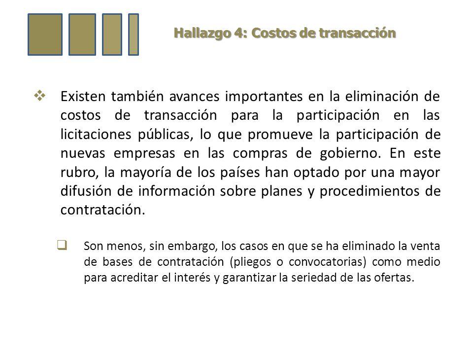 Hallazgo 4: Costos de transacción Existen también avances importantes en la eliminación de costos de transacción para la participación en las licitaciones públicas, lo que promueve la participación de nuevas empresas en las compras de gobierno.