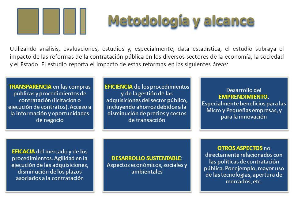 Metodología y alcance Utilizando análisis, evaluaciones, estudios y, especialmente, data estadística, el estudio subraya el impacto de las reformas de la contratación pública en los diversos sectores de la economía, la sociedad y el Estado.