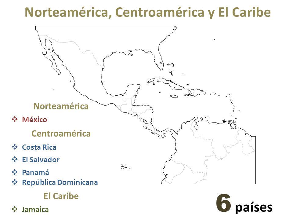 Norteamérica, Centroamérica y El Caribe Norteamérica México Centroamérica Costa Rica El Salvador Panamá República Dominicana El Caribe Jamaica 6 países
