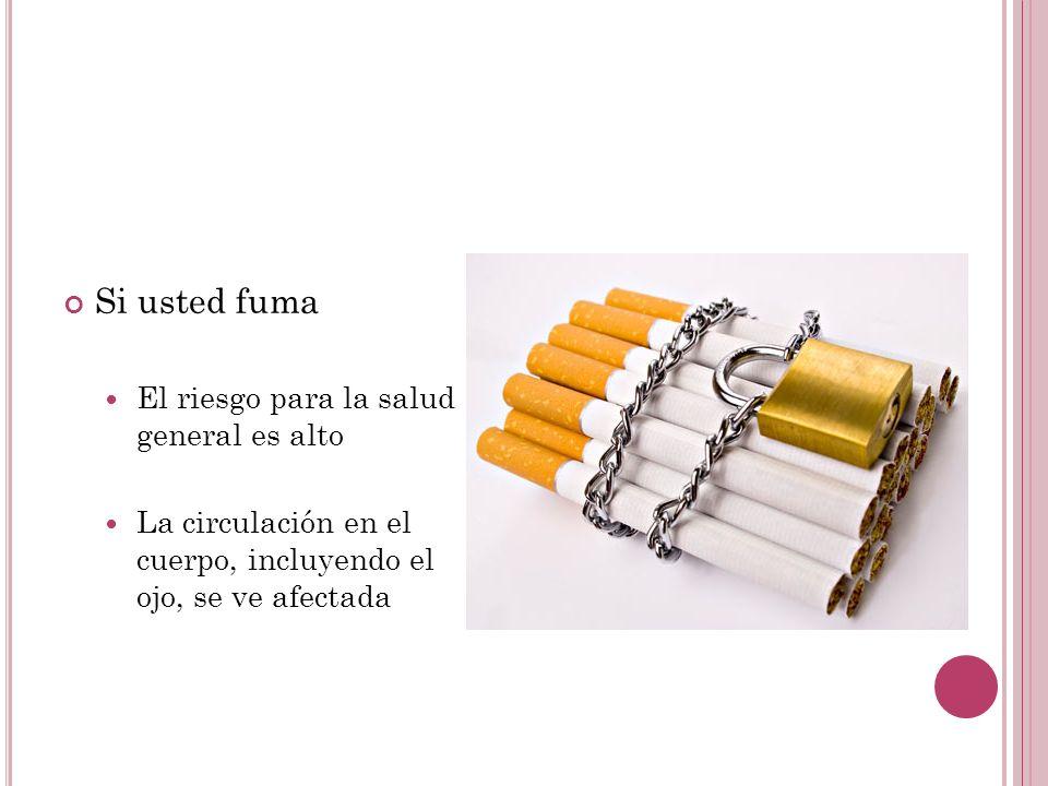 Si usted fuma El riesgo para la salud general es alto La circulación en el cuerpo, incluyendo el ojo, se ve afectada