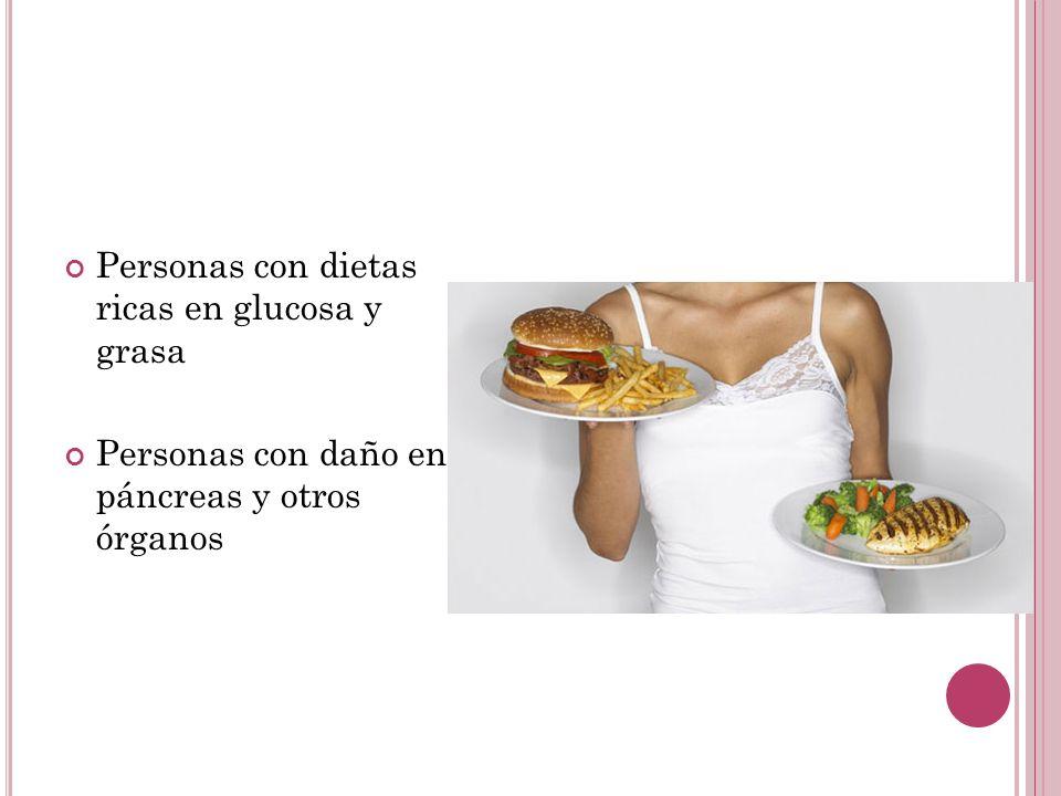 Personas con dietas ricas en glucosa y grasa Personas con daño en páncreas y otros órganos