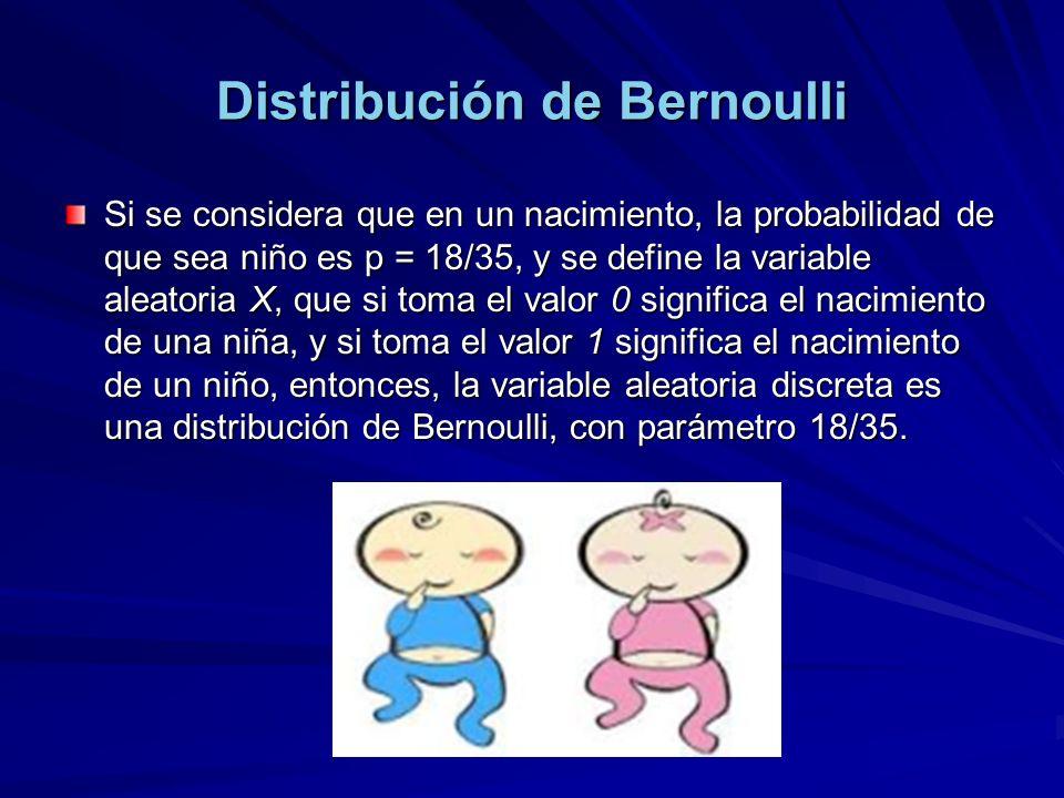 Distribución de Bernoulli Si se considera que en un nacimiento, la probabilidad de que sea niño es p = 18/35, y se define la variable aleatoria X, que si toma el valor 0 significa el nacimiento de una niña, y si toma el valor 1 significa el nacimiento de un niño, entonces, la variable aleatoria discreta es una distribución de Bernoulli, con parámetro 18/35.
