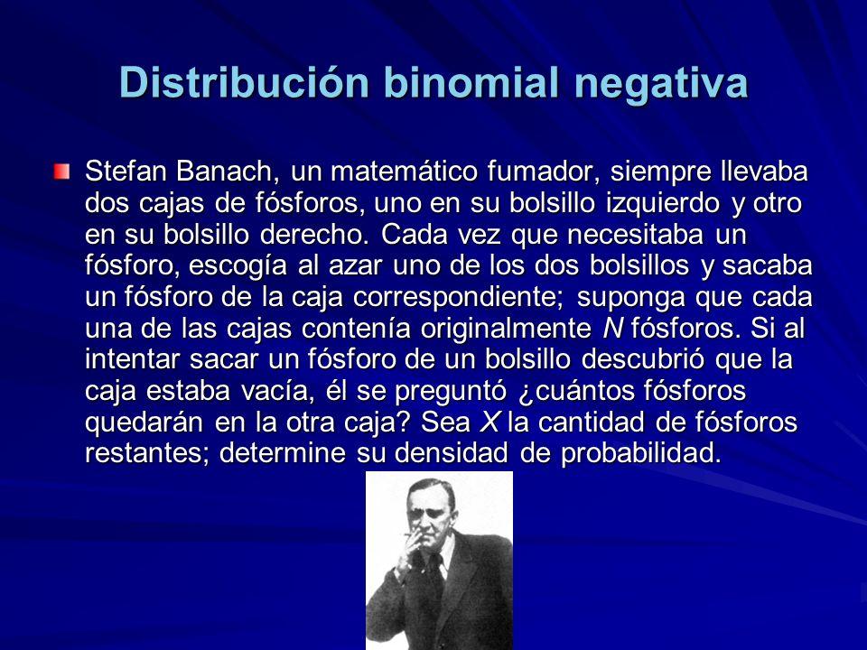 Distribución binomial negativa Stefan Banach, un matemático fumador, siempre llevaba dos cajas de fósforos, uno en su bolsillo izquierdo y otro en su bolsillo derecho.