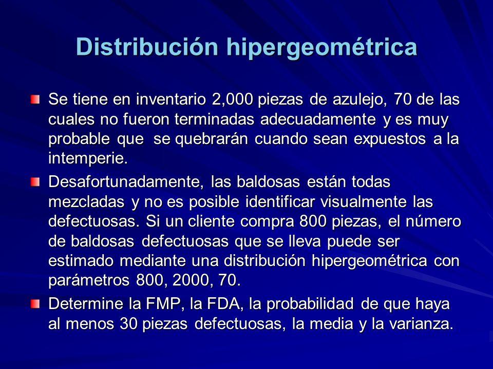 Distribución hipergeométrica Se tiene en inventario 2,000 piezas de azulejo, 70 de las cuales no fueron terminadas adecuadamente y es muy probable que se quebrarán cuando sean expuestos a la intemperie.