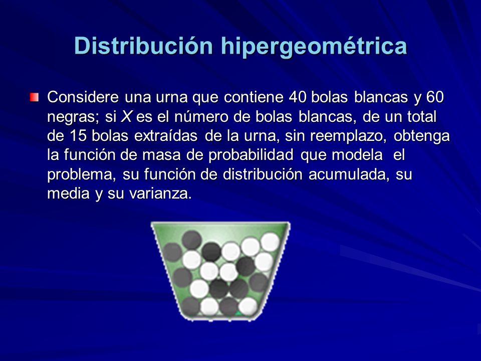Distribución hipergeométrica Considere una urna que contiene 40 bolas blancas y 60 negras; si X es el número de bolas blancas, de un total de 15 bolas extraídas de la urna, sin reemplazo, obtenga la función de masa de probabilidad que modela el problema, su función de distribución acumulada, su media y su varianza.