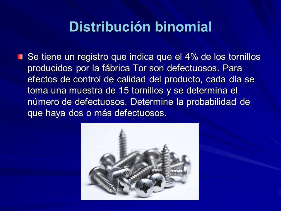 Distribución binomial Se tiene un registro que indica que el 4% de los tornillos producidos por la fábrica Tor son defectuosos.