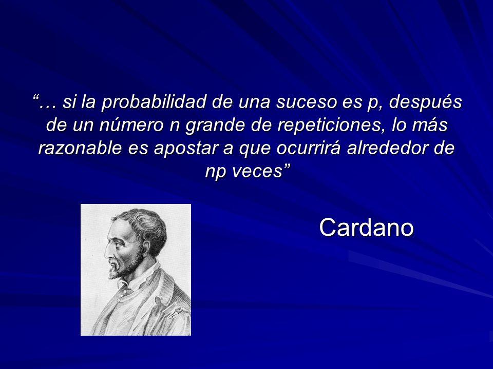 … si la probabilidad de una suceso es p, después de un número n grande de repeticiones, lo más razonable es apostar a que ocurrirá alrededor de np veces Cardano
