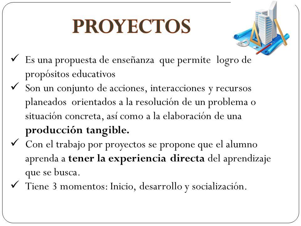 Es una propuesta de enseñanza que permite logro de propósitos educativos Son un conjunto de acciones, interacciones y recursos planeados orientados a la resolución de un problema o situación concreta, así como a la elaboración de una producción tangible.