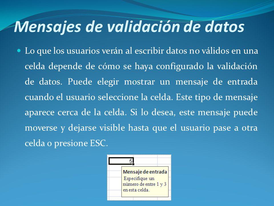 Mensajes de validación de datos Lo que los usuarios verán al escribir datos no válidos en una celda depende de cómo se haya configurado la validación de datos.