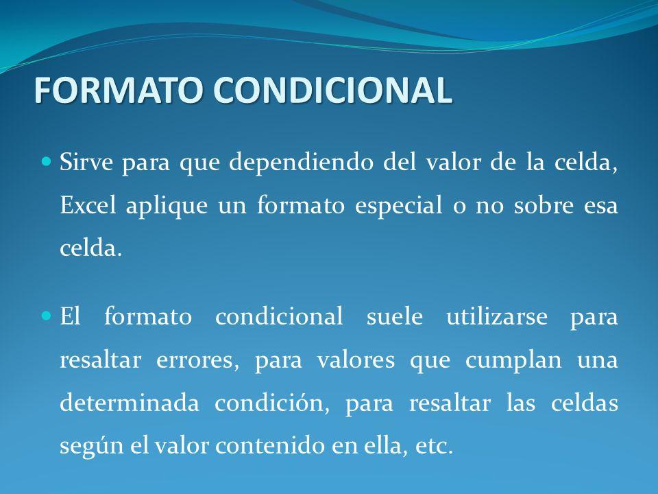 Aplicar un formato condicional a una celda: Seleccionamos la celda a la que vamos a aplicar un formato condicional.