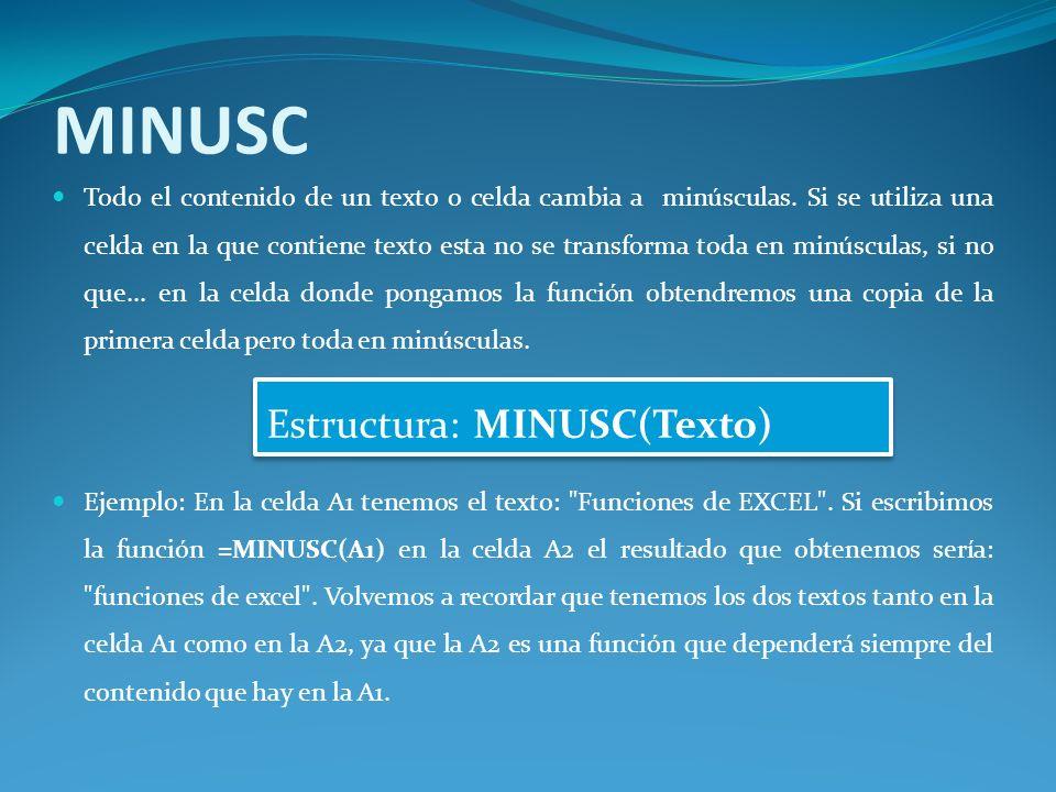 MINUSC Todo el contenido de un texto o celda cambia a minúsculas.