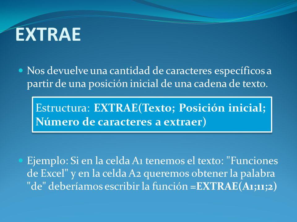 EXTRAE Nos devuelve una cantidad de caracteres específicos a partir de una posición inicial de una cadena de texto.
