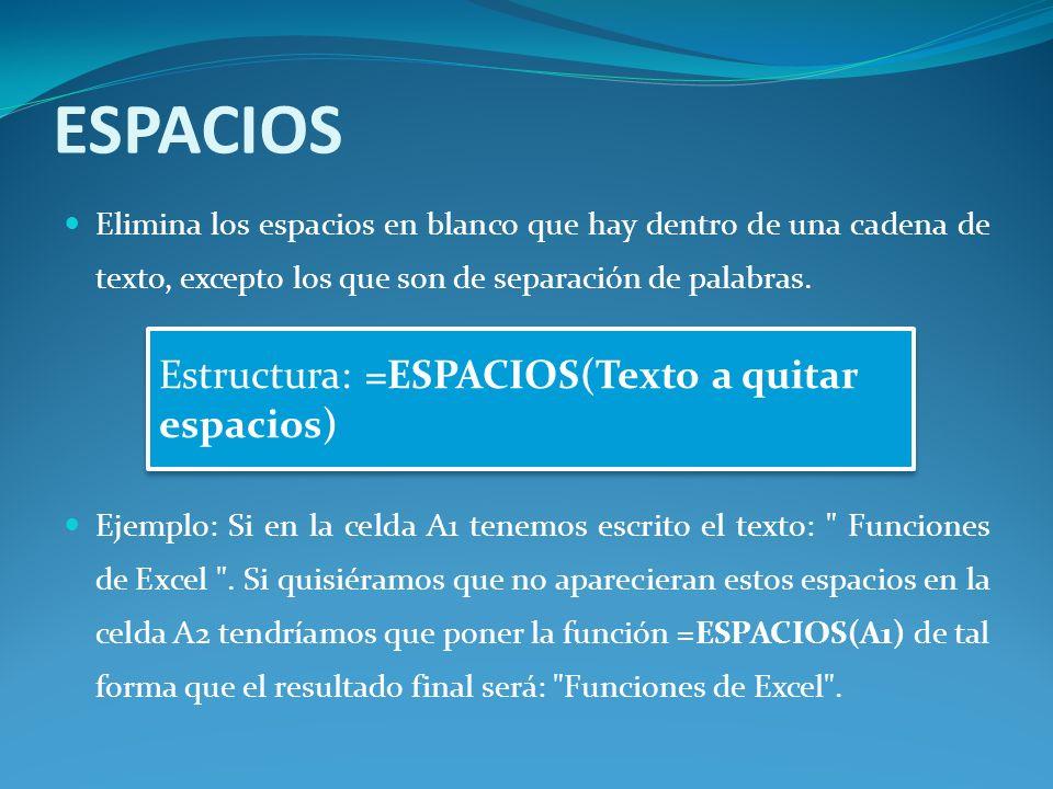 ESPACIOS Elimina los espacios en blanco que hay dentro de una cadena de texto, excepto los que son de separación de palabras.