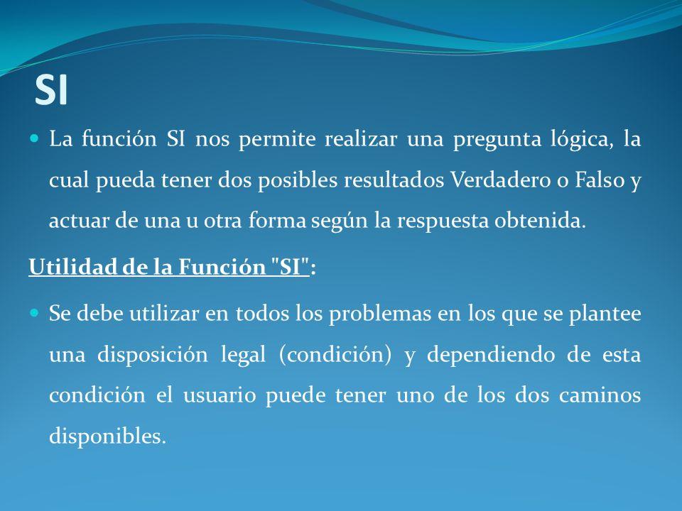 SI La función SI nos permite realizar una pregunta lógica, la cual pueda tener dos posibles resultados Verdadero o Falso y actuar de una u otra forma según la respuesta obtenida.