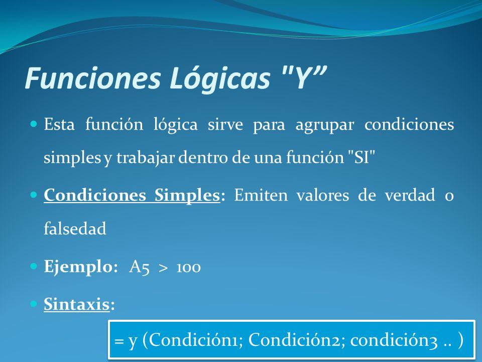 Funciones Lógicas Y Esta función lógica sirve para agrupar condiciones simples y trabajar dentro de una función SI Condiciones Simples: Emiten valores de verdad o falsedad Ejemplo: A5 > 100 Sintaxis: = y (Condición1; Condición2; condición3..