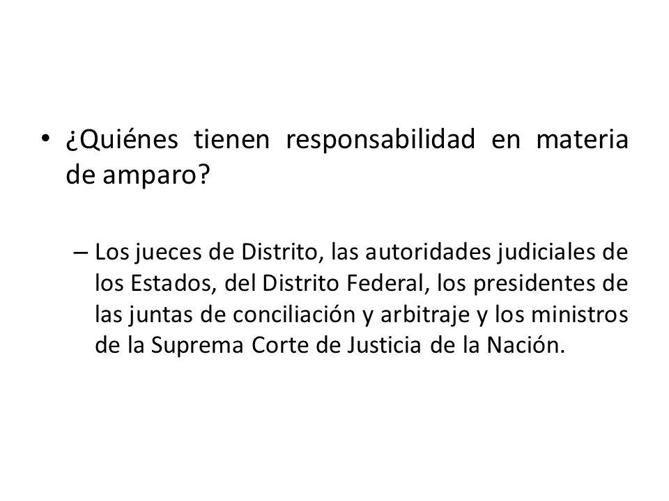 ¿Quiénes tienen responsabilidad en materia de amparo? – Los jueces de Distrito, las autoridades judiciales de los Estados, del Distrito Federal, los p