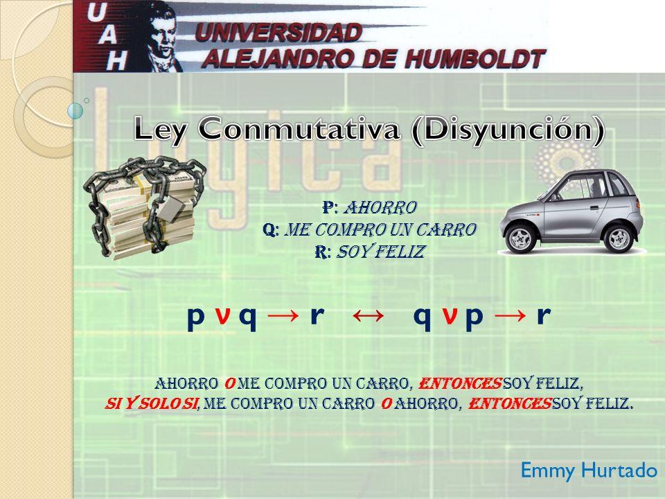 p: Ahorro q: Me compro un carro r: Soy feliz p ν q r q ν p r Ahorro o Me compro un carro, entonces Soy feliz, si y solo si, Me compro un carro o Ahorr