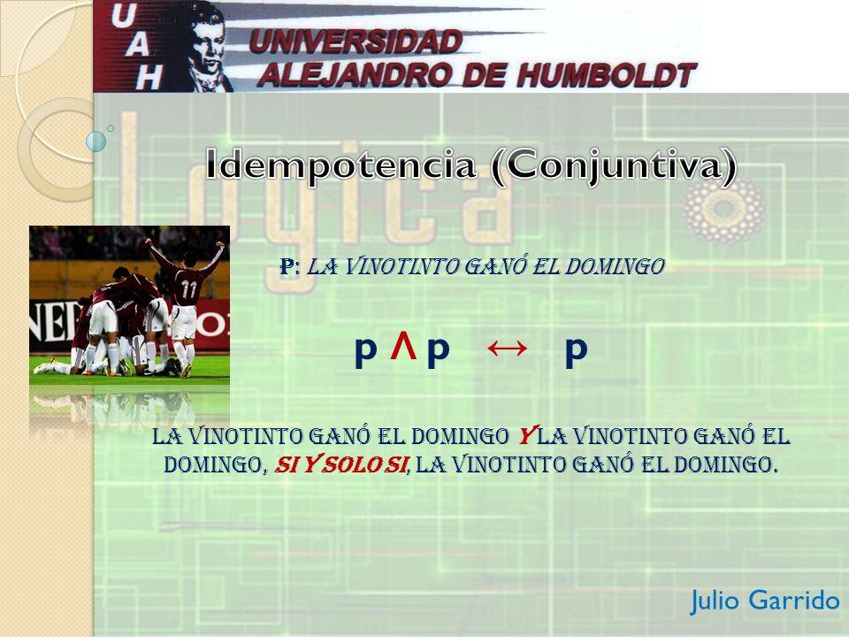 p: La Vinotinto ganó el domingo p Λ p p La Vinotinto ganó el domingo y La Vinotinto ganó el domingo, si y solo si, La Vinotinto ganó el domingo. Julio