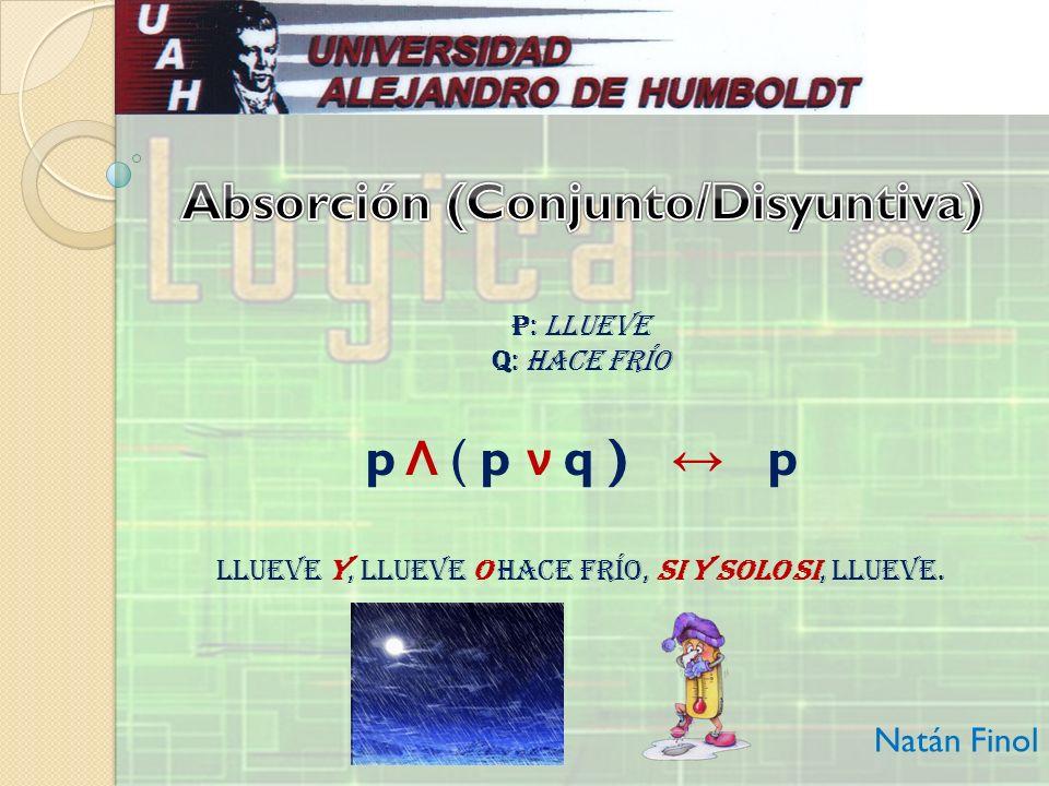 Disyunto/Conjuntiva Natán Finol pqp Λ qp Λ qp ν (p Λ q) V V F F V F V F V F F F V V F F