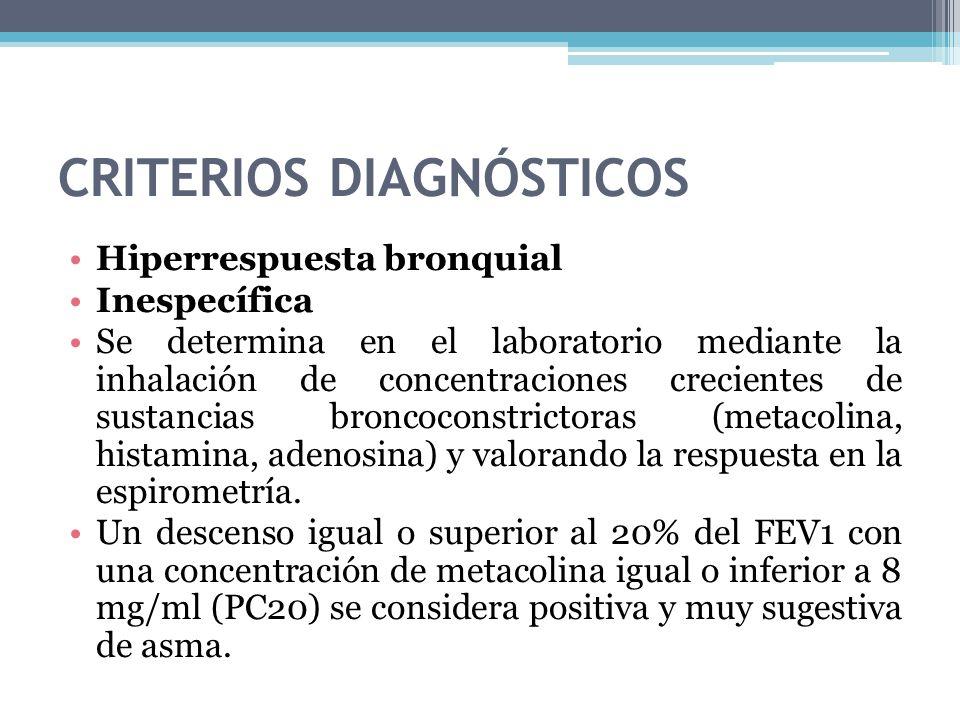 CRITERIOS DIAGNÓSTICOS Hiperrespuesta bronquial Inespecífica Se determina en el laboratorio mediante la inhalación de concentraciones crecientes de su
