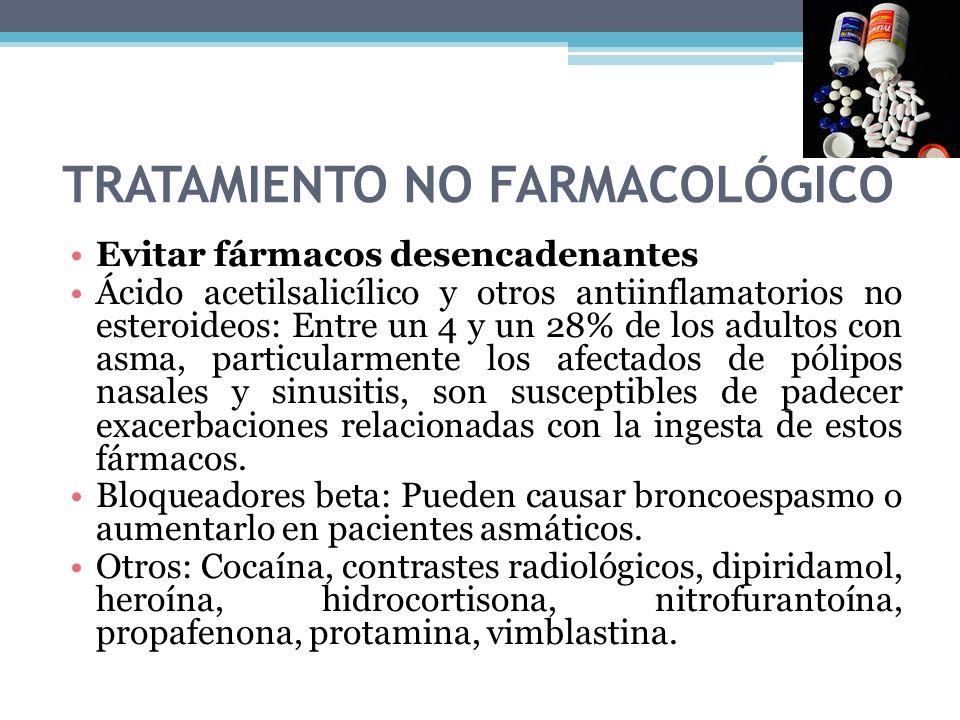 TRATAMIENTO NO FARMACOLÓGICO Evitar fármacos desencadenantes Ácido acetilsalicílico y otros antiinflamatorios no esteroideos: Entre un 4 y un 28% de l