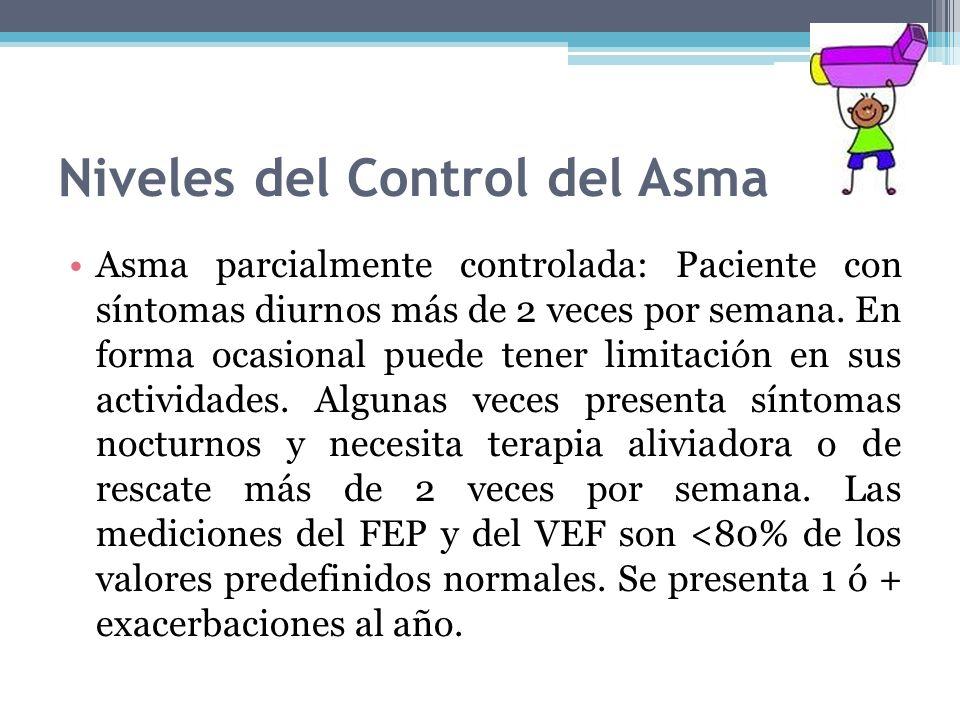 Niveles del Control del Asma Asma parcialmente controlada: Paciente con síntomas diurnos más de 2 veces por semana. En forma ocasional puede tener lim