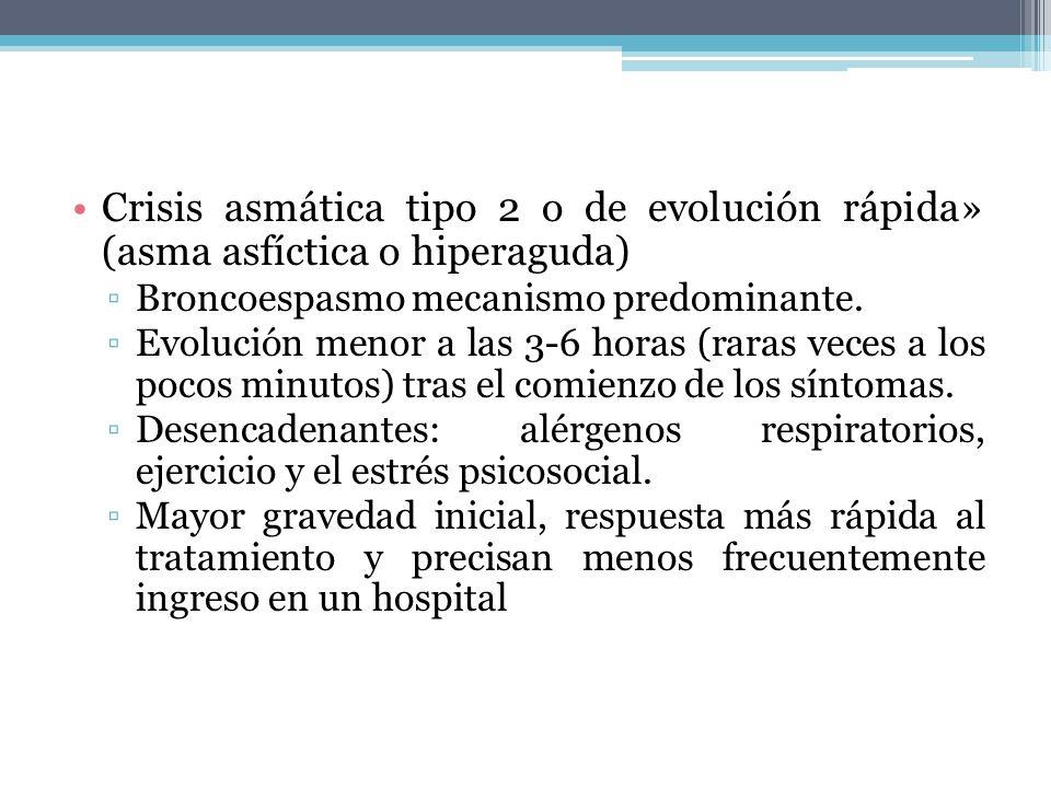 Crisis asmática tipo 2 o de evolución rápida» (asma asfíctica o hiperaguda) Broncoespasmo mecanismo predominante. Evolución menor a las 3-6 horas (rar