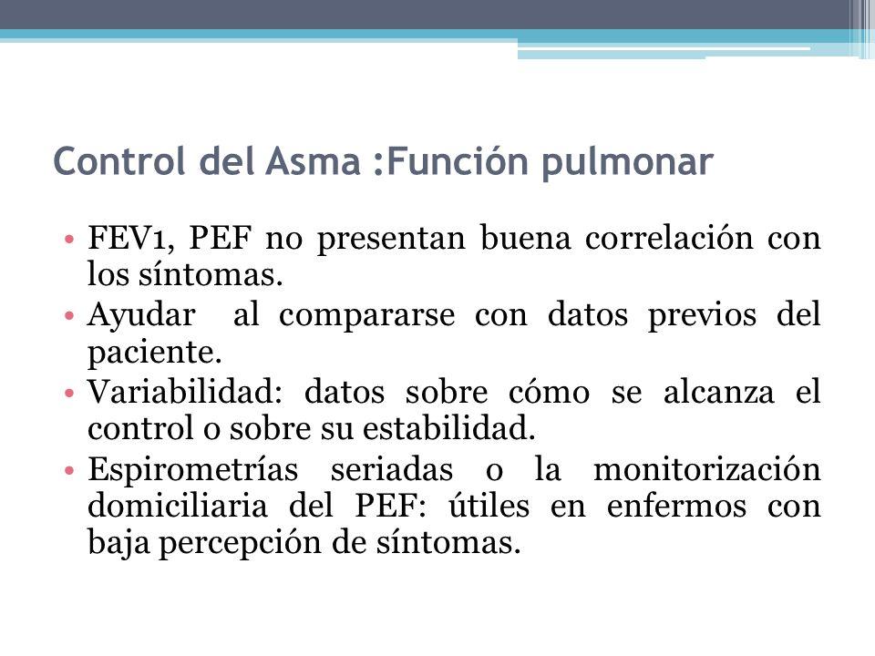 Control del Asma :Función pulmonar FEV1, PEF no presentan buena correlación con los síntomas. Ayudar al compararse con datos previos del paciente. Var