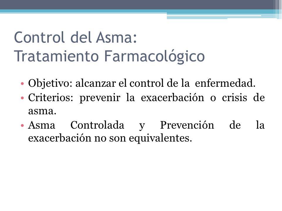 Control del Asma: Tratamiento Farmacológico Objetivo: alcanzar el control de la enfermedad. Criterios: prevenir la exacerbación o crisis de asma. Asma