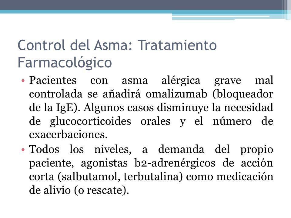 Control del Asma: Tratamiento Farmacológico Pacientes con asma alérgica grave mal controlada se añadirá omalizumab (bloqueador de la IgE). Algunos cas