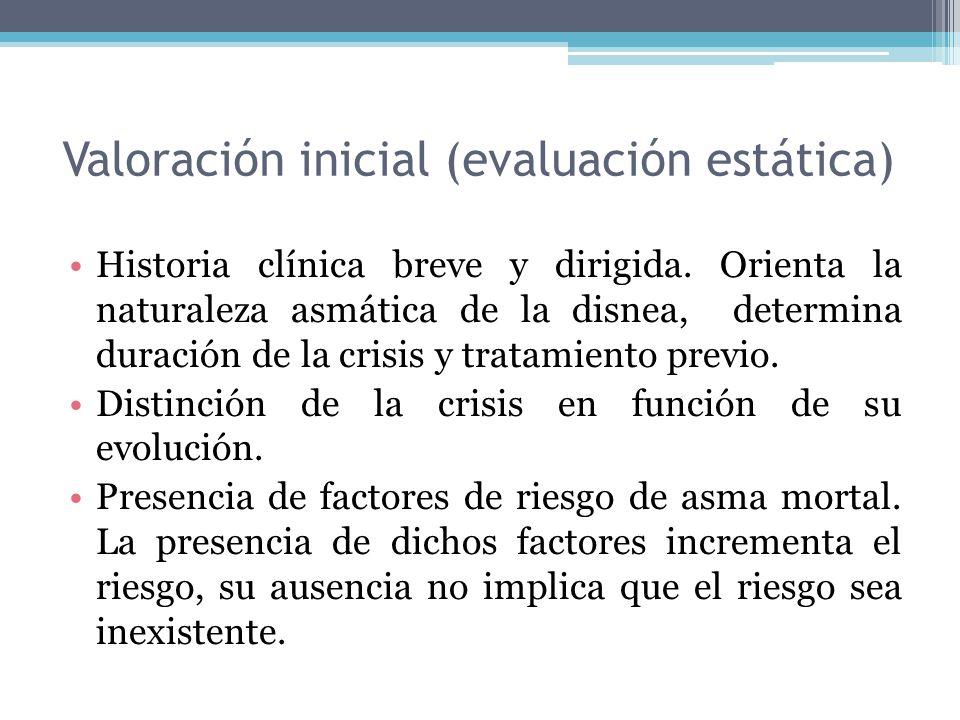 Historia clínica breve y dirigida. Orienta la naturaleza asmática de la disnea, determina duración de la crisis y tratamiento previo. Distinción de la