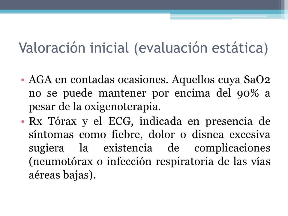 AGA en contadas ocasiones. Aquellos cuya SaO2 no se puede mantener por encima del 90% a pesar de la oxigenoterapia. Rx Tórax y el ECG, indicada en pre