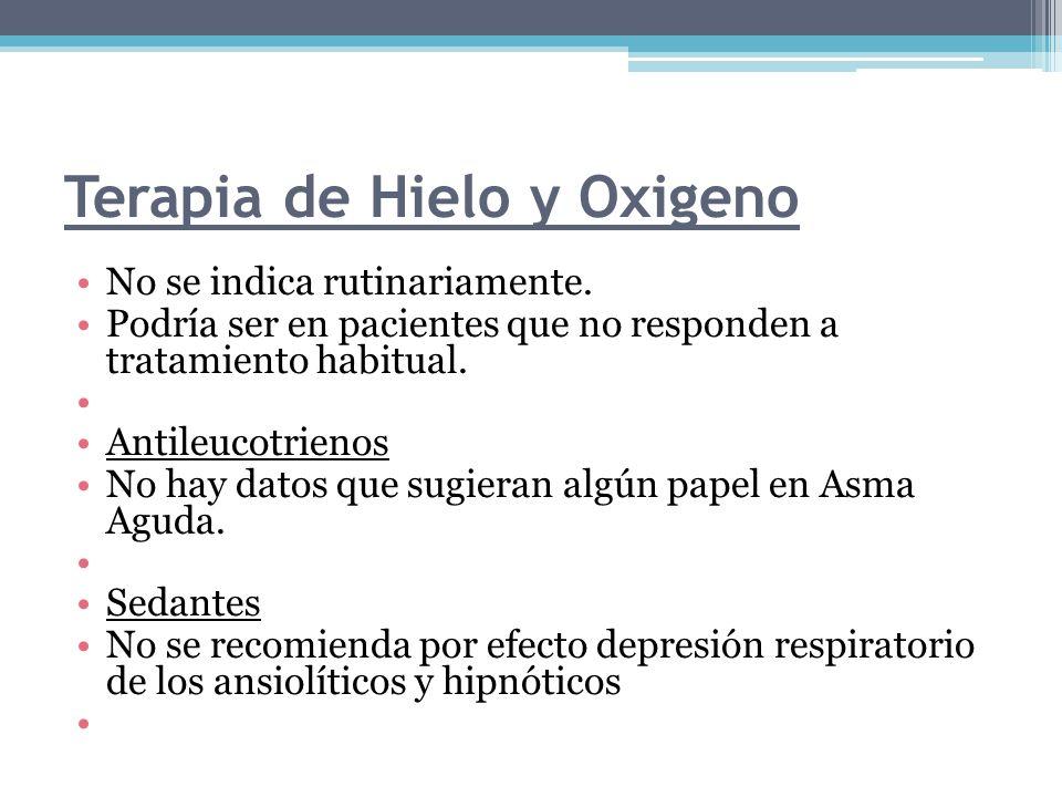 Terapia de Hielo y Oxigeno No se indica rutinariamente. Podría ser en pacientes que no responden a tratamiento habitual. Antileucotrienos No hay datos