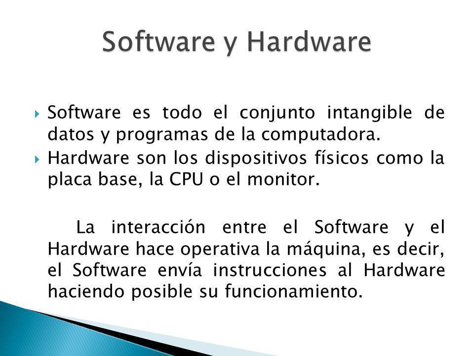 Software es todo el conjunto intangible de datos y programas de la computadora. Hardware son los dispositivos físicos como la placa base, la CPU o el