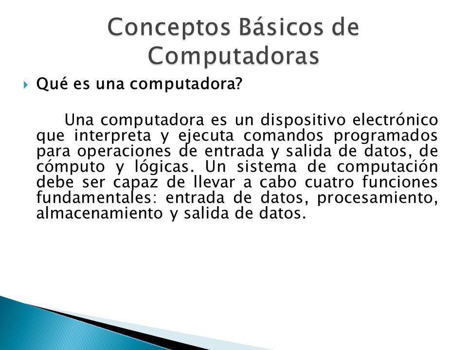Qué es una computadora? Una computadora es un dispositivo electrónico que interpreta y ejecuta comandos programados para operaciones de entrada y sali
