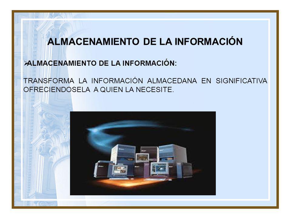 ALMACENAMIENTO DE LA INFORMACIÓN ALMACENAMIENTO DE LA INFORMACIÓN: TRANSFORMA LA INFORMACIÓN ALMACEDANA EN SIGNIFICATIVA OFRECIENDOSELA A QUIEN LA NEC