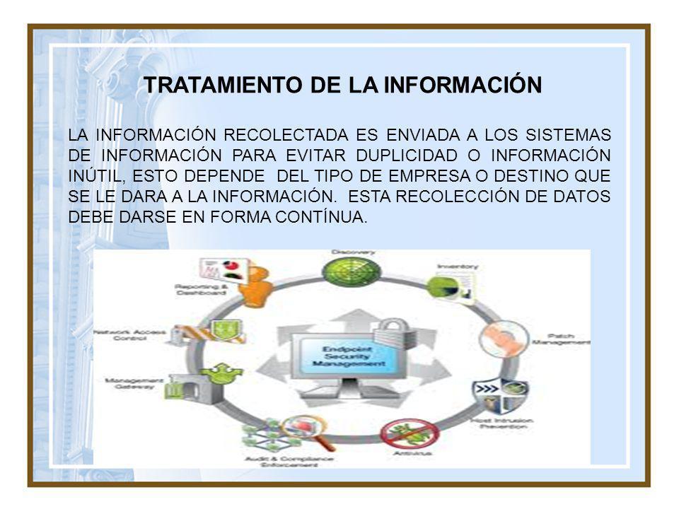TRATAMIENTO DE LA INFORMACIÓN LA INFORMACIÓN RECOLECTADA ES ENVIADA A LOS SISTEMAS DE INFORMACIÓN PARA EVITAR DUPLICIDAD O INFORMACIÓN INÚTIL, ESTO DE