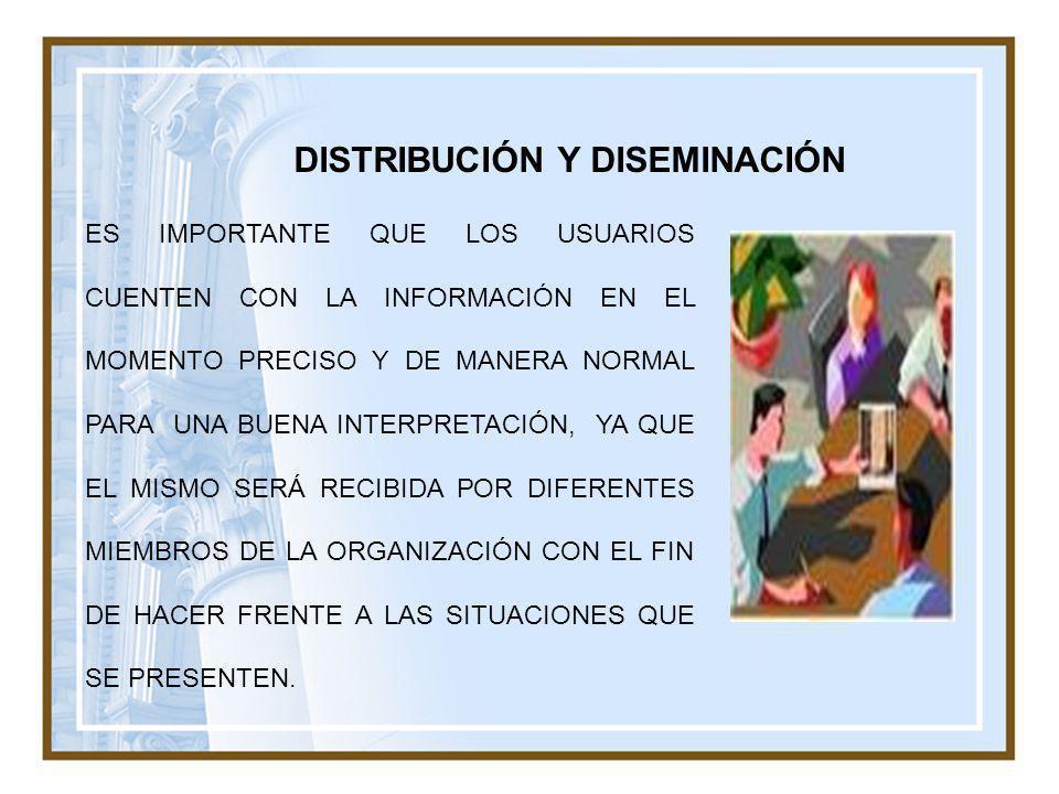 DISTRIBUCIÓN Y DISEMINACIÓN ES IMPORTANTE QUE LOS USUARIOS CUENTEN CON LA INFORMACIÓN EN EL MOMENTO PRECISO Y DE MANERA NORMAL PARA UNA BUENA INTERPRE