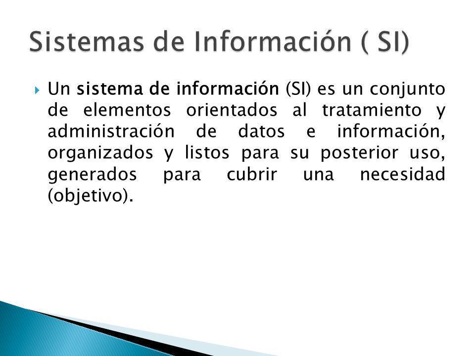 Un sistema de información (SI) es un conjunto de elementos orientados al tratamiento y administración de datos e información, organizados y listos par