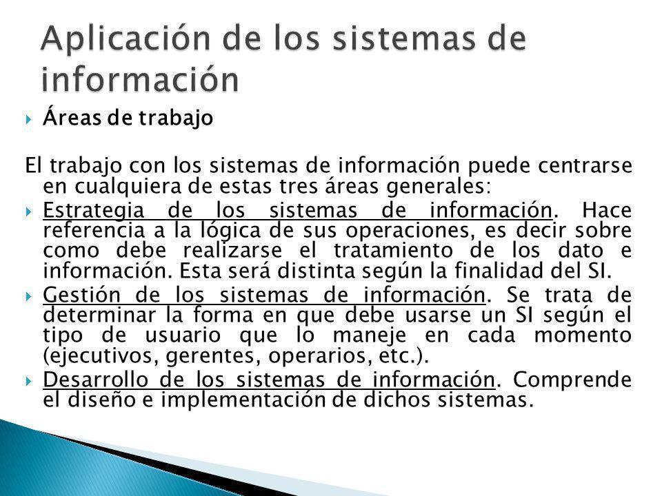 Áreas de trabajo El trabajo con los sistemas de información puede centrarse en cualquiera de estas tres áreas generales: Estrategia de los sistemas de